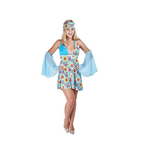 Charm Rainbow Hippie Kostüm Dame 60er Mehrfarbige Blumen -