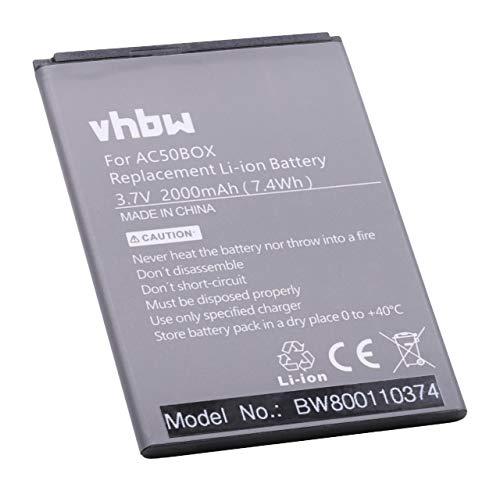 vhbw Li-ION Batterie 2000mAh (3.7V) pour téléphone, Smartphone Archos 50b Neon, 50b Neon 4G comme AC50BNE, AC50BNE 1ICP5/56/78
