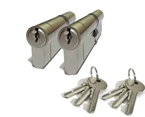 Euro-Türschlösser, hohe Sicherheit, Zylinder, gleichschließend, mit Schlüssel, Größe: 30/30, vernickelt, 6 x Schlüssel, Anti-Bohren, Anti-Stößen, Anti-Snap, für PVC/PVC-Türen, Terrassentüren etc.