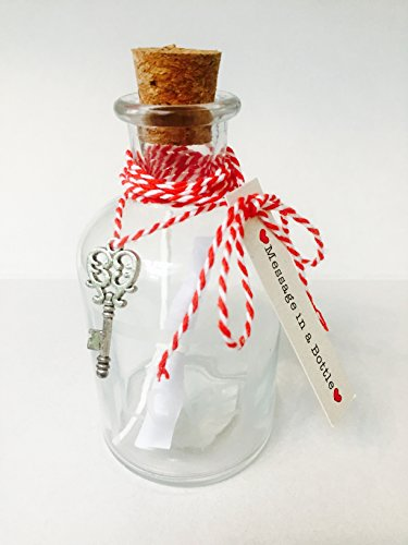 hriftrolle und 10 cm Korken, klein, Glas, mit mattiertem Schriftzug