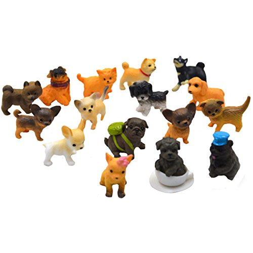 AiSi 16er Set niedliche Miniatur-Deko, Deko Figur Kleiner Hund, mini Dekofiguren Tier, Tischdeko Mops Welpe je 2.5cm Chihuahua Golden Retriever usw.