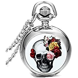 SAMGU Jewelry Necklace Quartz Pocket Watch Pink Flower Skull Gothic Devil Retro Christmas Halloween Gift Colour Silver