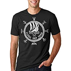 Silk Road Tees Astillero Floki La Camiseta de los Hombres Divertidos Vikingos Valhalla Runa Camiseta X-Large Verde