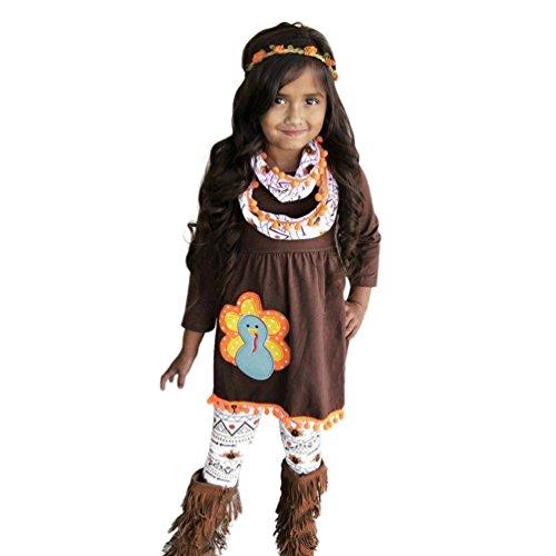 r Kleid Set Thanksgiving Kids Baby Mädchen Outfits Kleidung Kleid Tops Hosen Stirnband Outfit Set, braun (Kind Türkei Kostüm)