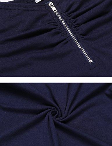 Trudge Damen Kurzarm T-Shirts Spitze U-Ausschnitt Keyhole Top Kurzarmshirt (a)Navy