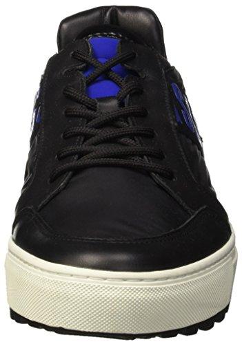 Bikkembergs Track-er 770 Low Shoe M Leather/Fabric, Pompes à plateforme plate homme Bleu - Blu (Blue/Black)
