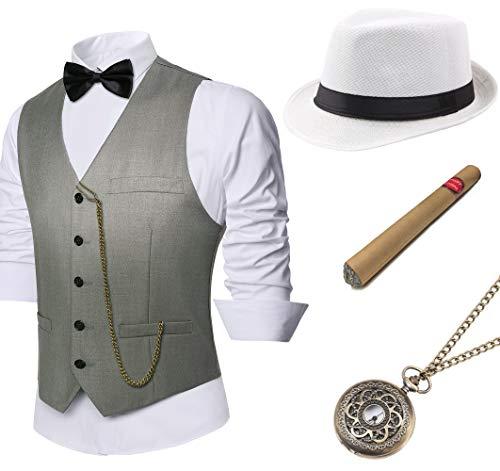 Coucoland 1920s Accessoires Herren Mafia Gatsby Kostüm Set inklusive Panama Gangster Hut Herren Weste Halsschleife Fliege Taschenuhr und Plastik Zigarre (Grau, L) (Kostüm Mann Gangster)