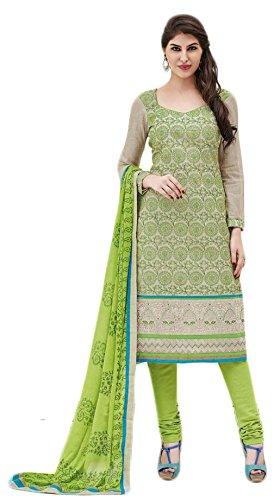 Manmandir Cotton Silk Dress Material / Salwar Suit for Women (Manjulika_567_Beige)