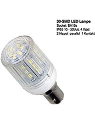 30 SMD IP LED Lampe mit Schutzkapsel, wasserfest (IP65) für BA-15s Sockel. Energiespar Lampe für Boot, Schiff Marine Beleuchtung Positionsleuchten Verbrauch nur 4W Verbrauch 350lm 10 - 30 Volt BA 15S