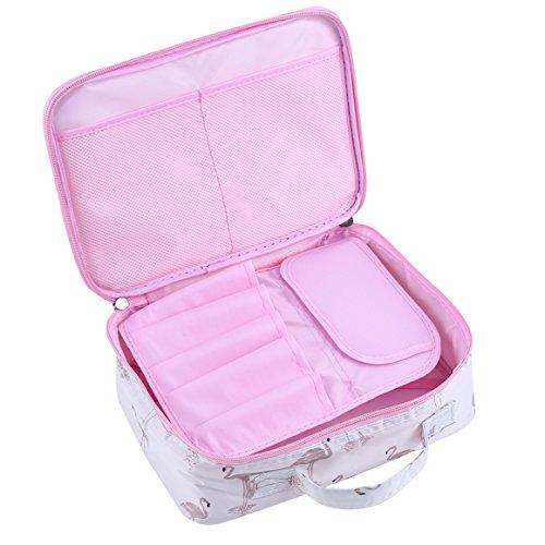 ODN Kulturbeutel Damen Kosmetiktasche Wasserdicht Waschtasche Makeup Handtasche für Reise, Outdoor und Camping (Weißer Flamingo) (Lv Handtaschen Für Den Mann)
