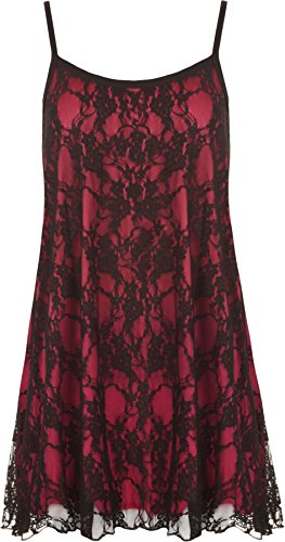 WearAll - Damen Übergröße Lace Chiffon Sheer Gefüttert Strappy ärmellos Vest Schaukel - Schwarz Cerise - 48-50 (Top Chiffon Shirt)