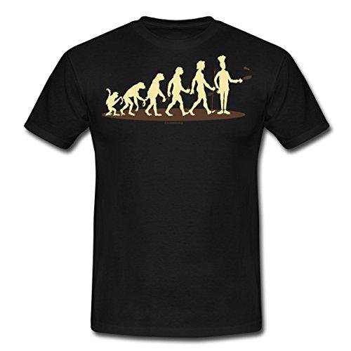 Spreadshirt Evolution vom Affen Zum Koch Küchen Gott Rahmenlos Geburtstag Geschenk Männer T-Shirt, L, Schwarz (Affe Gottes Schwarzer)