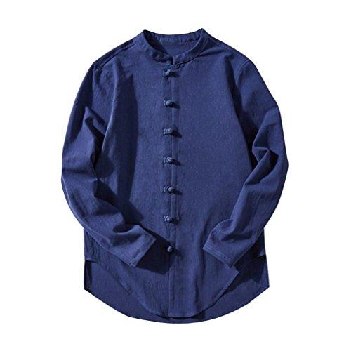 Italily uomo casuale top estate manica lunga maglietta buton solido camicetta autunno collo piedi tinta unita retro cotone lino autunno t-shirt maglia moda camicie tops blouse+ (blu, 4xl)