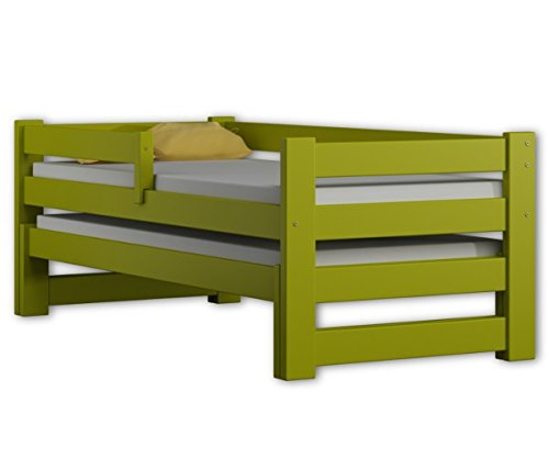 Single bed with trunddle & drawers, exclusive solid wood, free shipping (Green) WNM Group Solid wood, board thickness 22 mm, Upper sleeping bed: 80x190 cm, external:197x88x69 cm Bottom sleeping bed: 80 cm x180 cm, external: 187x88x33 cm 1