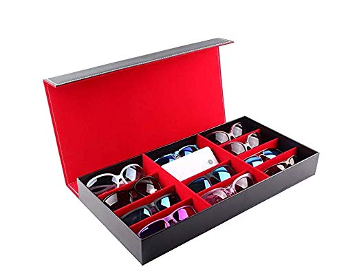 Yeer Sonnenbrillen-Sammlung Fall 12-Frame-PU-Brille Storage Display Box Schmuck Uhr Aufbewahrungsbox (Color : Red)
