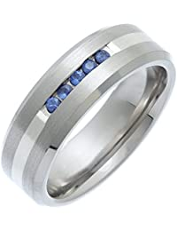 Theia Titanium and Silver Inlay Flat Court 5 Blue Sapphires Matt 7 mm Ring
