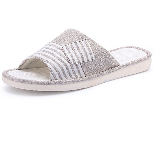 Pantofole in cotone antiscivolo in cotone KENROLL Soft Comfortable Moisture Wicking Pantofole da interno in lana da Uomo da Donna (7.5-8 UK/42-43 EU, Light Khaki) Light Khaki