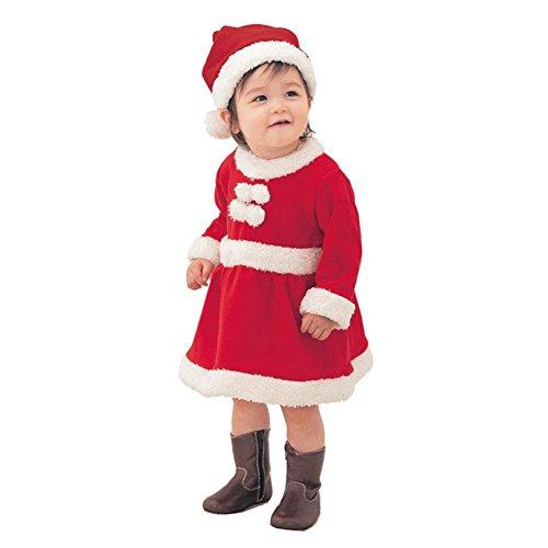 Hey~Yo Baby Winter 3pcs Weihnachten Weihnachtsmann Outfit Kostüm Hut + Mantel + Hose (110cm, Mädchen)