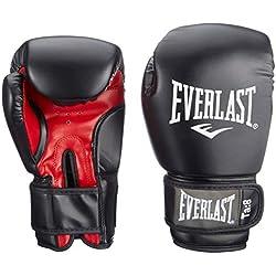 Everlast Rodney 1803 16 oz Gants de Boxe entraînement muscles pectoraux mixte adulte Noir/Rouge 30 cm