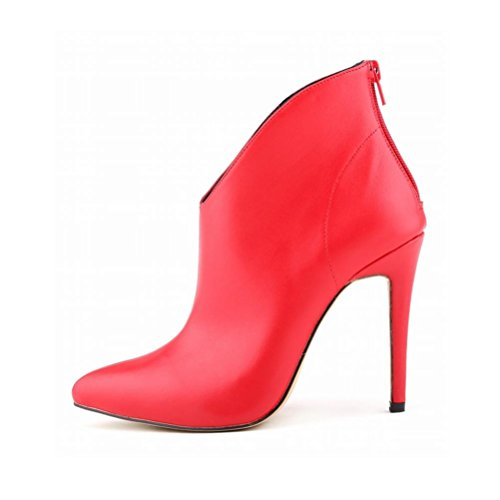 red QPYC nuda cerniera punta romani punta con a di Stivali tacco Stivali tacco alto corti a Stivali con qqrxRATwn6