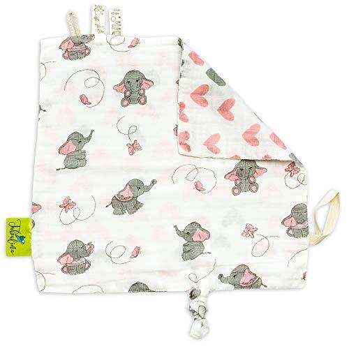 Tabalino ▪ Weiches Schmusetuch Schnuffeltuch Baby zum Kuscheln und Einschlafen ▪ 30x30cm ▪ ab 0 Monate ▪ Geschenk Geburt ▪ Mädchen ▪ rosa Elefanten