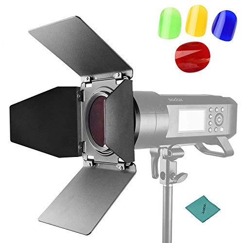 Godox BD08 Scheunentor & Wabengitter & 4-Farben-Gelfilter-Kit (Rot, Gelb, Blau, Grün) Kompatibel für Godox AD400PRO Outdoor-Blitzlicht Monolight Speedlites -