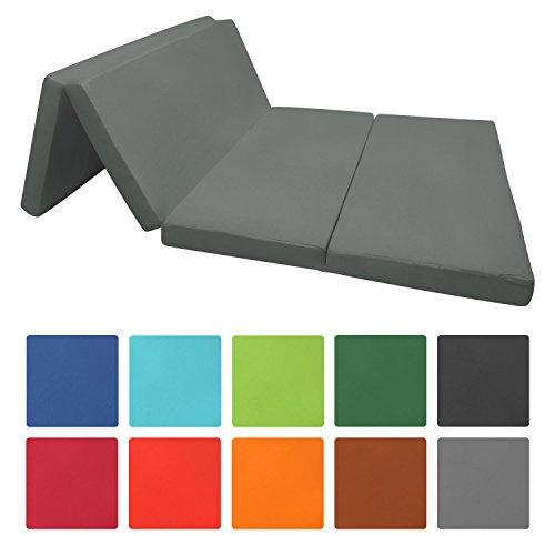 Beautissu Cómodo colchón plegable Campix auxiliar futón 120 x 195 x 7 cm ahorra espacio funda microfibra Antracita
