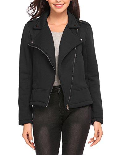 Finejo Damen Sweatjacke Biker jacke Kurz Motorradjacke Übergangsjacke Winterjacke Mantel Jacket Blazer Coat Outwears Schwarz XL