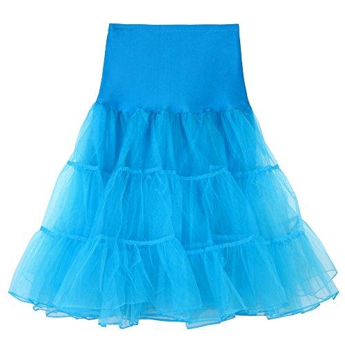 MRULIC Damen Karneval Plissee Gaze Kurzer Rock Mädchen Tutu Tanzen Rock Petticoat Unterrock Underskirt für Rockabilly Kleid Mesh Farbe Für Fasching(A-Hellblau,S/Waist:60-100cm) -
