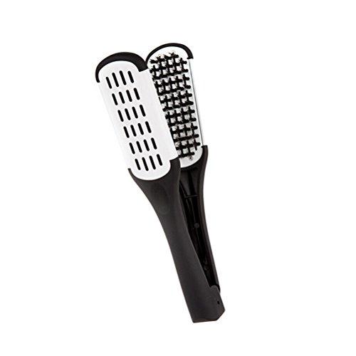 ULTNICE Piastra con doppia spazzola per lisciare i capelli e styling, con setole di cinghiale su due lati medium bianco