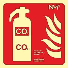 MovilCom® - Señal luminiscente EXTINTOR CO2 PVC 0,7mm Clase B 210X210mm homologado nueva