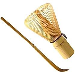 Matcha Tee Zubehör Set 2tlg. Bambusbesen (Chasen) + Bambuslöffel (Chashaku) von erlesene-naturprodukte.de