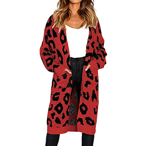 Vertvie Frauen Cardigan Lange Strickjacke Strick Pullover Casual Pocket Crochet Cardigan mit Taschen Druck Floral Pocket Knit Sweater Coat(Rot, S) (Crochet Cardigan Knit)
