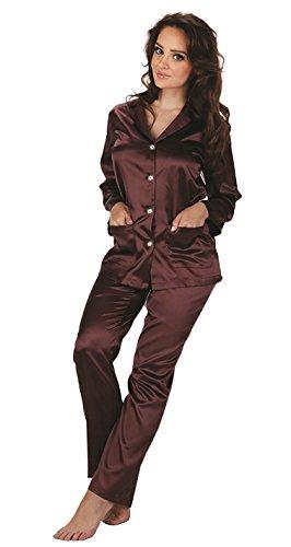 Forex Lingerie Elegante pigiama di raso in stile classico Prugna