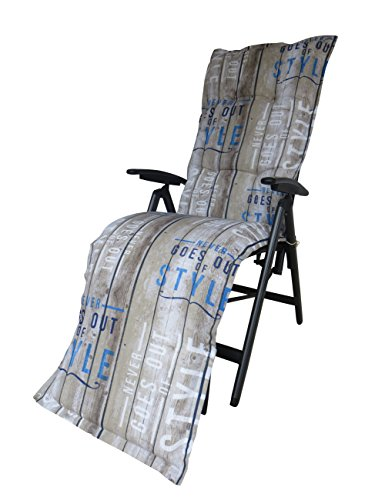 """Madison 8 cm Luxus Relaxliegenauflage C 306"""", Taupe - blau gestreift mit Schriftzug"""