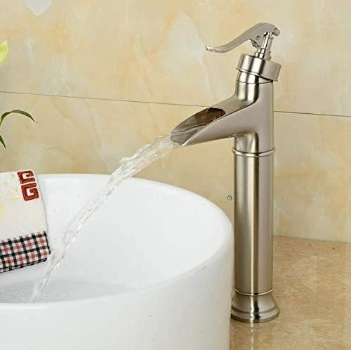 Eeayyygch Deck Montiert Badezimmer Große Waschbecken Wasserhahn Hot und Waschbecken Mixer Pinsel Nickel Wasserfall Wasserhähne (Farbe : -, Größe : -) (Pinsel Nickel Badewanne Wasserhahn)