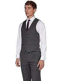 DKNY Slim Fit Grau Birdseye Anzug Weste UK 38R