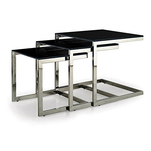 designement Trio Table Basse gigogne Verre, Noir, 50 x 50 x 50 cm