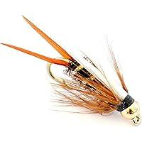 6x Trout Fly–Corpo nero e oro Arc Ninfe pesca ganci Size 12 - Pesca A Mosca Indicatori Sciopero