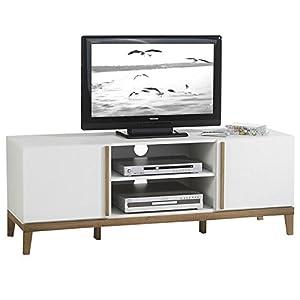 aa9ce973019dcf Meuble banc TV vintage RIGA MDF décor blanc et bois