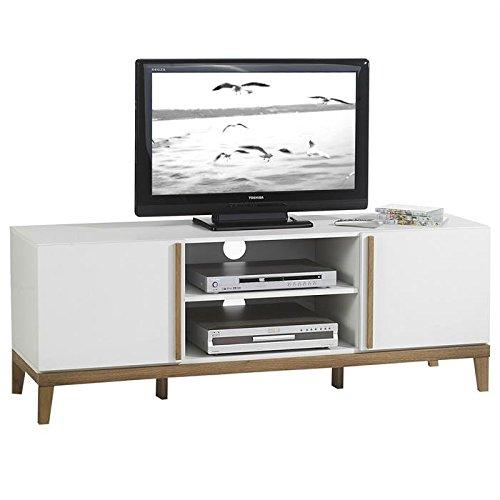 IDIMEX Meuble Banc TV Vintage Riga avec 2 niches et 2 Portes, en MDF décor Blanc et Bois