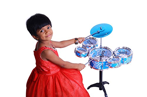 Kurtzy Big Band Drum Set with Chair Musical Toy Instrument for Kids (5 Pc) (Blue)  available at amazon for Rs.999