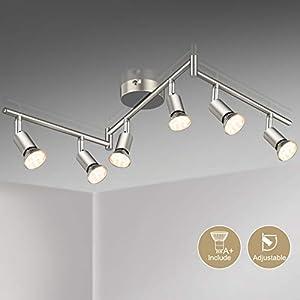 Defurhome LED Deckenleuchte Drehbar, 6 Flammig LED Strahler Deckenlampe Spot,Modern Deckenstrahler (Mattes Nickel), inkl. 6 x 3.5 W GU10 LED Lampen (380LM, warmweiß)