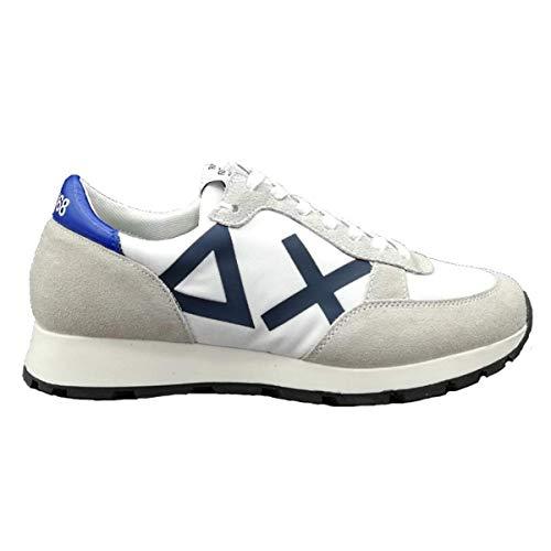 Sun 68 Scarpe da Uomo Sneakers Running Sportive Ginnastica in Pelle Blu Verde Bianche Bianco Calzature Z19107 Shoes Nuove Comode Fondo Gomma Bianco, 43