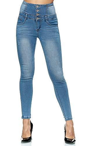 Elara Damen Jeans High Waist Push Up Skinny Fit Chunkyrayan 1166 Blue-38 (M)