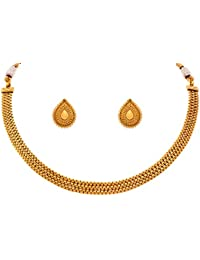 Jfl - Jewellery For Less Traditional Ethnic One Gram Gold Plated Patta Necklace Set With Drop Stud Earring For...