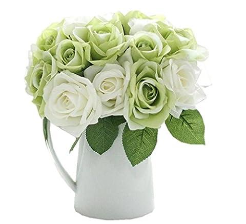 Zycshang un bouquet de roses, avec 9têtes Vert feuille de fleurs artificielles en soie Faux, convient pour mariage Décor floral Home Decor