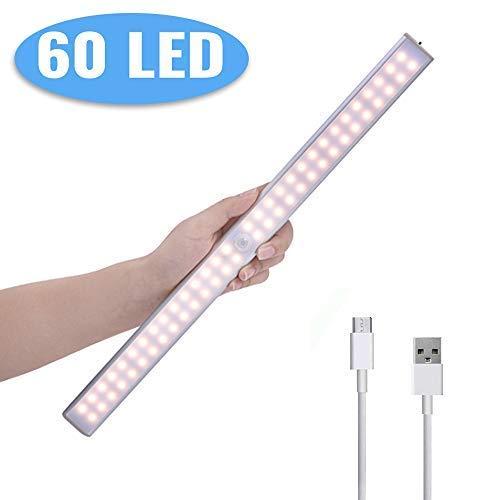Lampe de Placard, Lacyie 60 LED 2000mAh Lampe Réchargeable par USB...