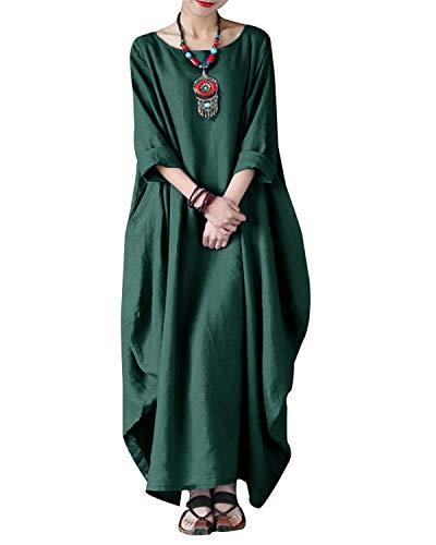 VONDA Damen Langarm Kleid Lange Größe Maxikleid Mittelalter Kaftan Kleider Armeegrün M