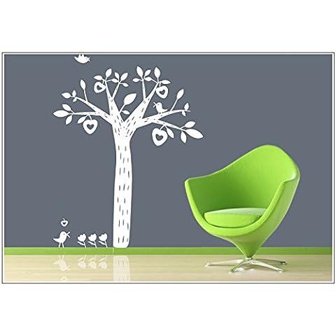 Adesivo tatuaggi da parete camera per bambini albero mela cuore di uccello wbm24(054 turchese ( turquoise ), size3:Baum 90cm x110cm (H) )